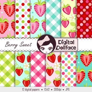 Strawberry Digital Paper, Summer Fruit Printables