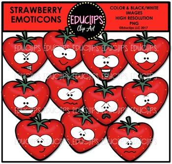 Strawberry Emoticons Clip Art Bundle {Educlips Clipart}