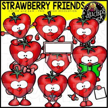Strawberry Friends Clip Art Bundle  {Educlips Clipart}