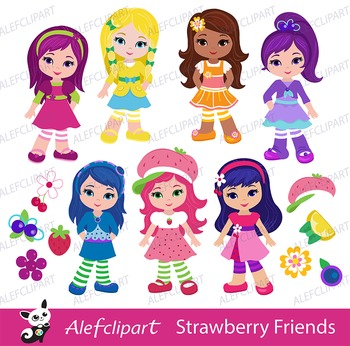 Strawberry Friends / Shortcake Girls Clip Art / Digital Clipart