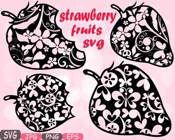 Strawberry Fruits fruit svg clipart health fitness teacher flower floral -464s