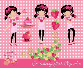 Strawberry Girl Clipart Set