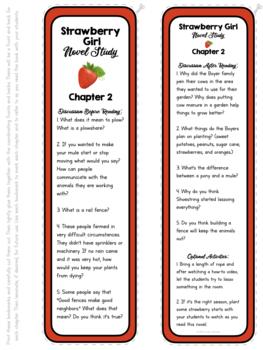 Strawberry Girl Novel Study Bookmarks