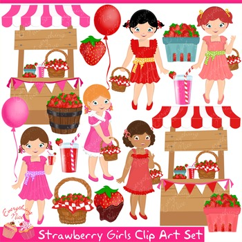 Strawberry Girls Clipart Set