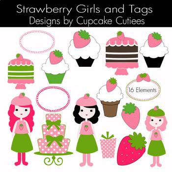 Strawberry Girls Sweet Clip Art - Digital Clip Art Set