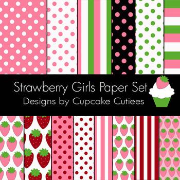 Strawberry Girls Sweet Paper Digital Paper Pack  8.5 x 11JPEG Set