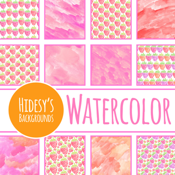 Strawberry Handpainted Watercolor Digital Paper / Backgrounds Clip Art Set