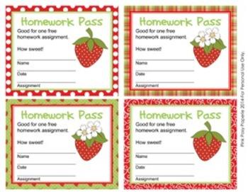 Strawberry Homework Passes