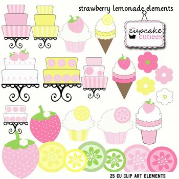 Strawberry Lemonade Digital Fun Clip Art Illustrations Digital Graphics CU