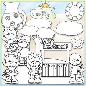 Strawberry Lemonade Kids Clip Art - Lemonade Stand Clip Art - CU Clip Art & B&W