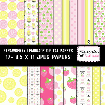 Strawberry Lemonade Sweet Paper Digital Paper Pack  8.5 x 11JPEG Set