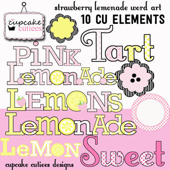 Strawberry Lemonade Word Art Digital Clip Art Illustrations Digital Graphics CU