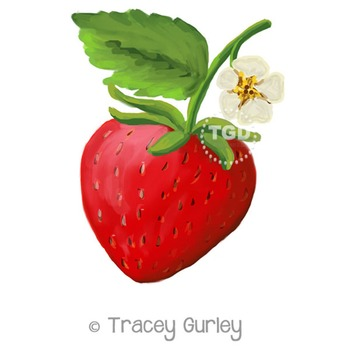 Strawberry Painting - strawberry clip art Printable Tracey