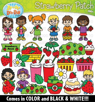 Strawberry Patch Clipart Set {Zip-A-Dee-Doo-Dah Designs}