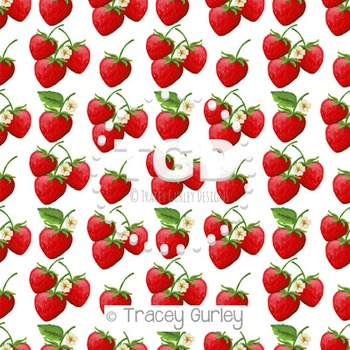 Strawberry Pattern on White digital paper Printable Tracey Gurley Designs