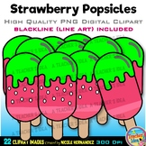 Strawberry Popsicles Clipart | Summer Clip Art for Persona