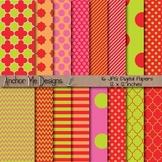 Strawberry Sorbet Quatrefoil, Chevron, Polka Dot & Striped Paper Pack