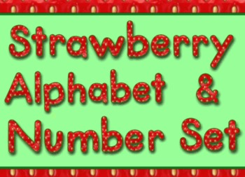 Strawberry Style Alphabet Numbers and Math Symbols Set