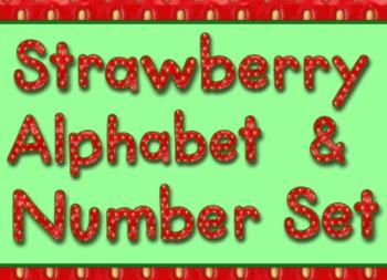 Strawberry Style Alphabet Numbers and Math Symbols Set