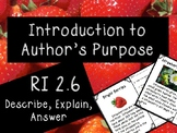 Strawberry Themed RI 2.6 Author's Purpose: Explain, Describe, Answer