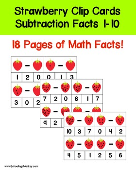 Strawberry-Themed Subtraction Facts 0-10