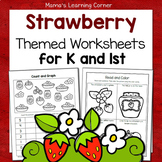 Strawberry-Themed Worksheet Packet for Kindergarten-First Grade