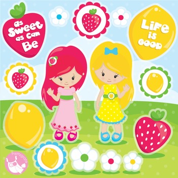 Strawberry girl clipart commercial use, vector graphics, digital  - CL991