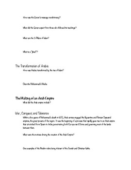 Strayer 3e Ch 9 The Worlds of Islam Reading Guide