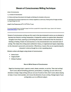 Stream of Consciousness Creative Writing Handout
