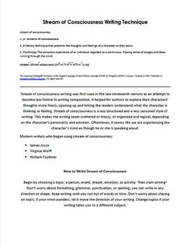 Stream of Consciousness Creative Writing Handout