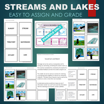 Streams and Lakes (Estuary, Tributary, Runoff, Watershed) Sort & Match Activity