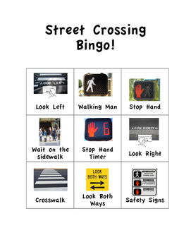 Street Crossing Safety Bingo