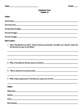 Street Law: Glencoe  Chapter 19 Homework  Intentional Torts