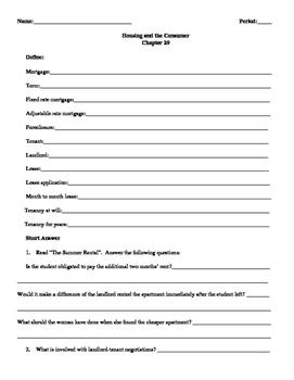 Street Law: Glencoe  Chapter 29 Homework Housing and the Consumer