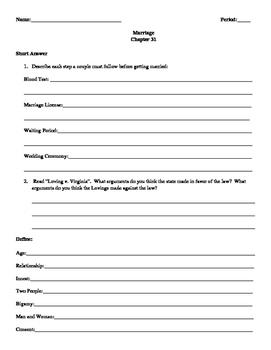 Street Law: Glencoe  Chapter 31 Homework Marriage