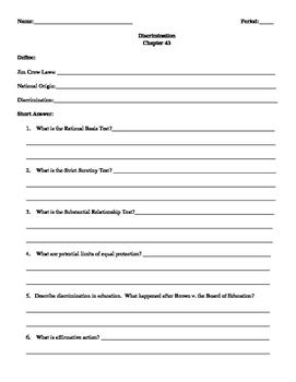 Street Law: Glencoe  Chapter 43 Homework Discrimination