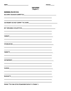 Street Law:  by: Glencoe  Chapter 11 Defenses Homework