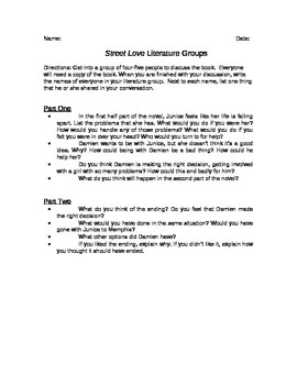 Street Love Literature Group Discussion Questions