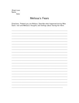 Street Love Melissa's Fears Writing Assignment
