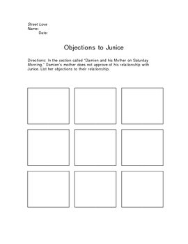 Street Love Objections to Junice Graphic Organizer