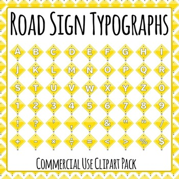 Street Sign Typographs for Construction Theme Clip Art for Commercial Use