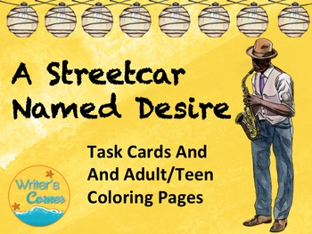 Streetcar Named Desire Writing Task Cards, Adult Teen Coloring Pages