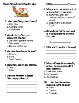 Strega Nona Comprehension Quiz
