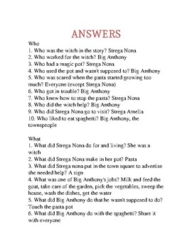 Strega Nona Speech/Language WH questions, sequencing & retell