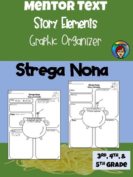 Strega Nona Story Elements Graphic Organizer Differentiated for Upper Elementary