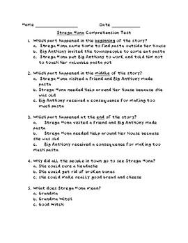 Strega Nona comprehension test