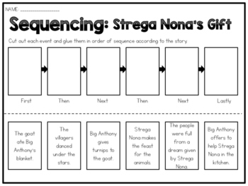 Strega Nona's Gift - Sequencing Worksheet