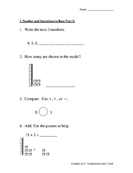 Common Core Math: Repeated Practice in 1st Grade Math Standards with Key