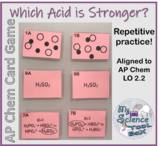 Strength of Acids Card Game -- AP Chemistry LO Aligned