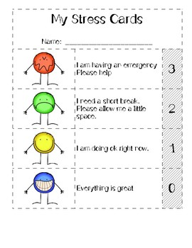Stress Cards (Student self-assessment)